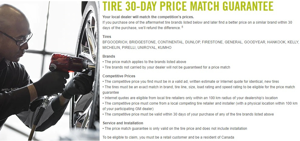 GM Service Specials Tires Price Match