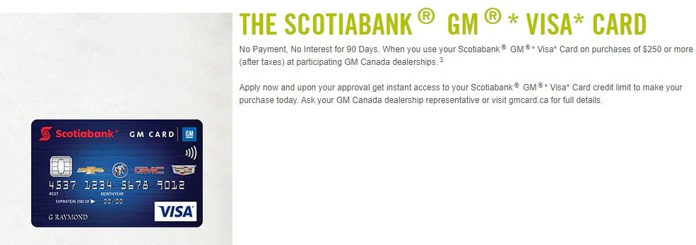 GM Service Specials Scotialbank GM Visa Card