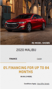2020 Chevy Malibu Finance Special Offers Incentives Eastside GM Markham Toronto