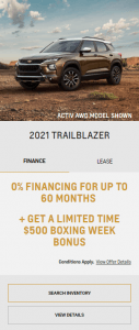 Boxing Day 2021 Chevy Trailblazer Finance Special Offers Incentives Eastside GM Markham Toronto