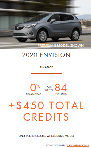 2020 Buick Envision Special Finance Offer GTA Toronto Markham Eastside GM